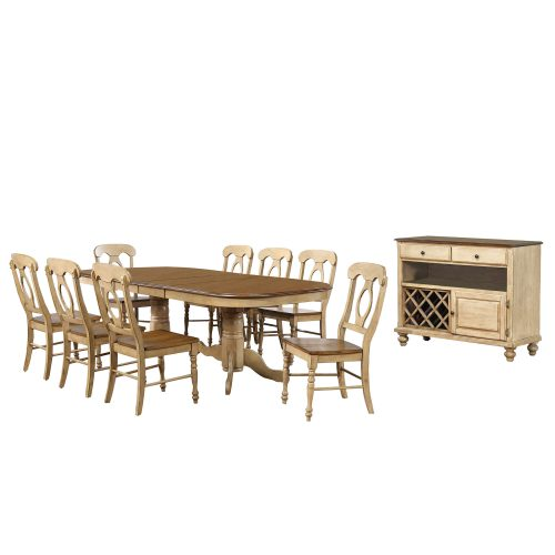 Brook Dining 10-piece dining set - Extendable pedestal table with eight Napoleon chairs and server - finished in creamy wheat with Pecan tops - seats and accents DLU-BR4296-C50-SRPW10P