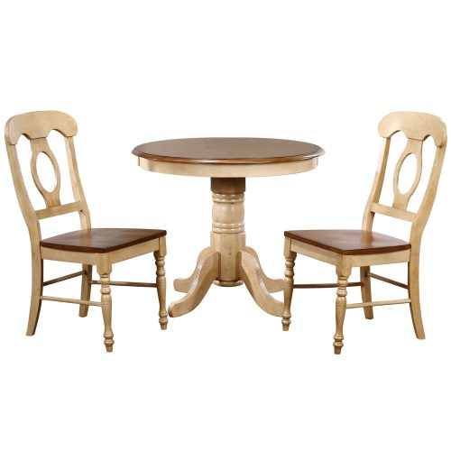 Brook Dining - 3-piece dining set - Pedestal dining table - two Napoleon chairs - finished in creamy wheat with a Pecan tops and seats DLU-BR3636-C50-PW3PC