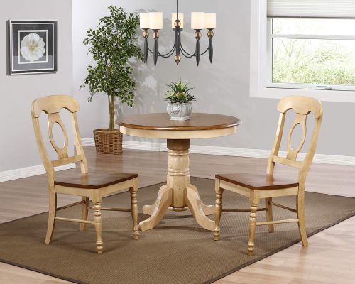Brook Dining - 3-piece dining set - Pedestal dining table - two Napoleon chairs - finished in creamy wheat with a Pecan tops and seats dining room setting DLU-BR3636-C50-PW3PC