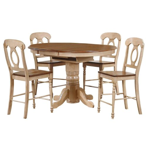 Brook Dining 5-piece dining set - Extendable pedestal dining table with four Napoleon chairs - Finished in creamy wheat with a Pecan top and seats DLU-BR4260CB-B50-PW5PC