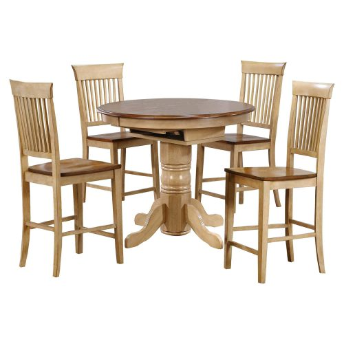 Brook Dining 5-piece dining set - Extendable pedestal pub height dining table with four fancy back stools - Finished in creamy wheat with a Pecan top and seats DLU-BR4260CB-B70-PW5PC