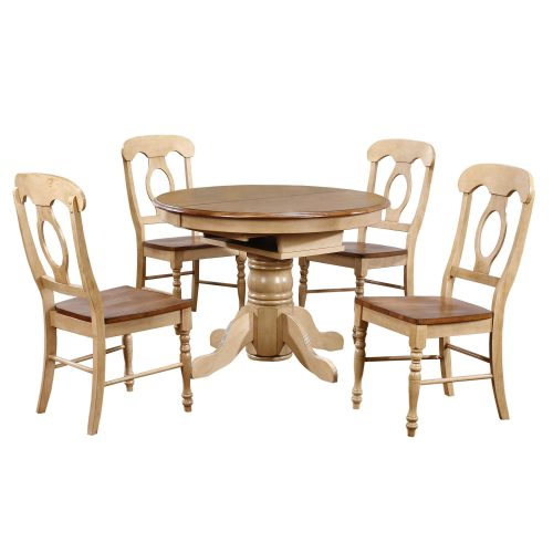 Brook Dining - 5-piece dining set - Round dining table with Butterfly leaf and four Napoleon chairs - Finished in creamy wheat with a Pecan top and seats DLU-BR4260-C50-PW5PC