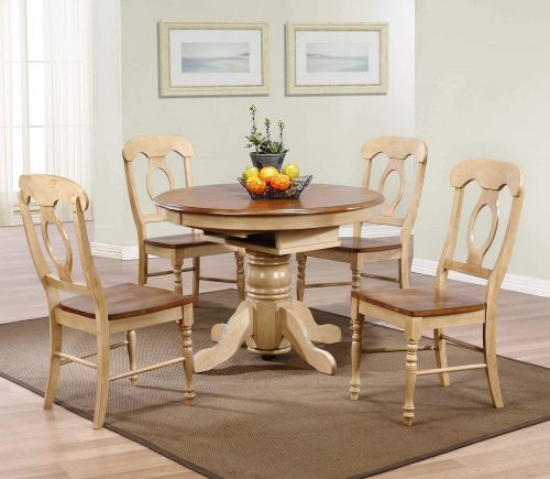 Brook Dining - 5-piece dining set - Round dining table with Butterfly leaf and four Napoleon chairs - Finished in creamy wheat with a Pecan top and seats - dining room setting DLU-BR4260-C50-PW5PC
