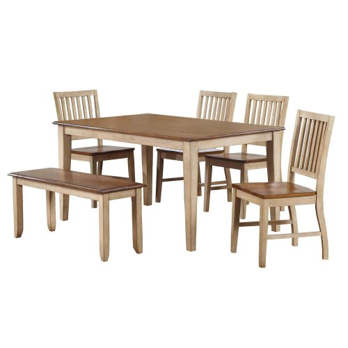 Brook Dining - 6-piece dining set - Rectangular dining table with four slat-back chairs and a dining bench - Finished in creamy wheat with a Pecan top and seats DLU-BR3660-C60-BNPW6PC