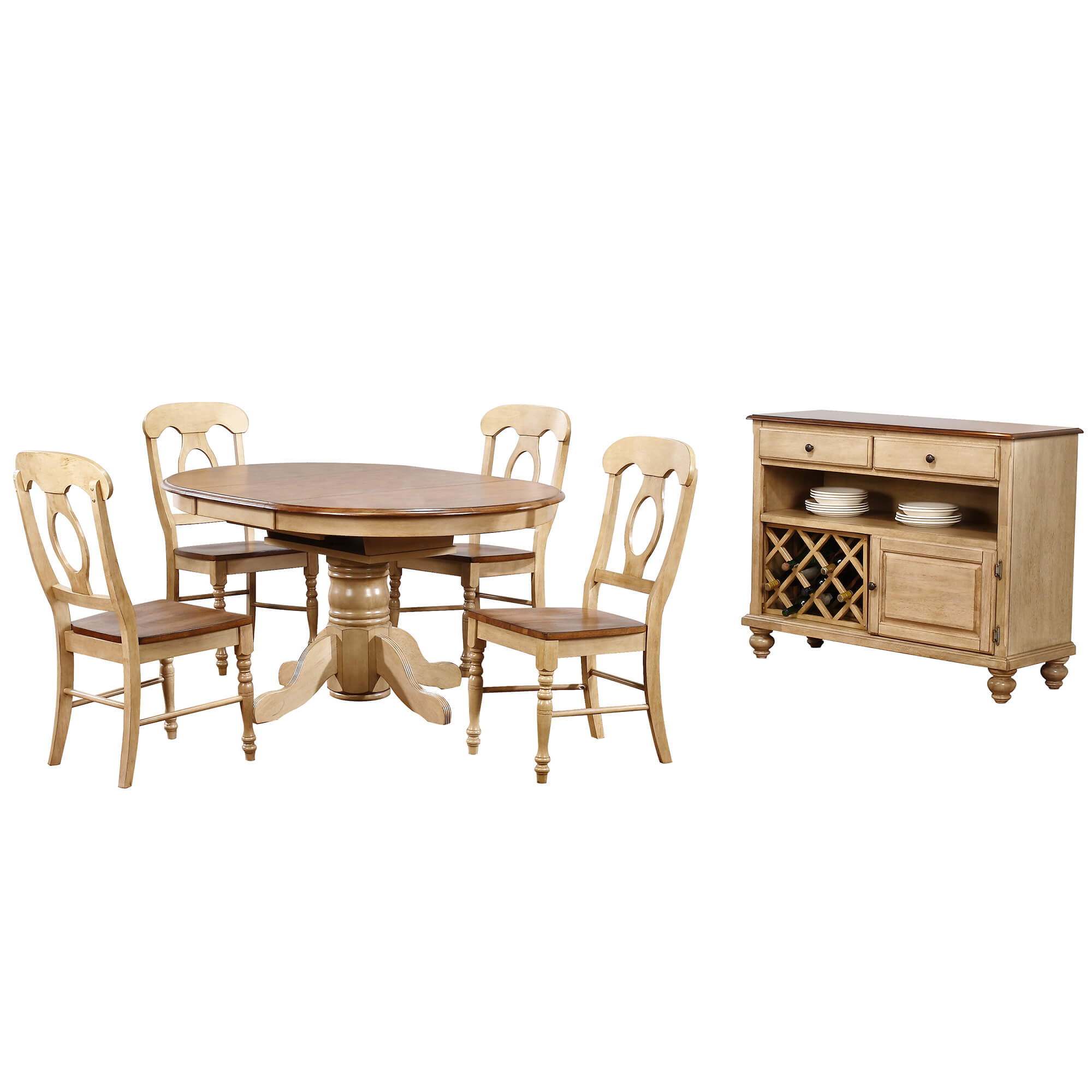 Round Or Oval Butterfly Leaf Dining Set W/Server   Brook 9 Piece ...