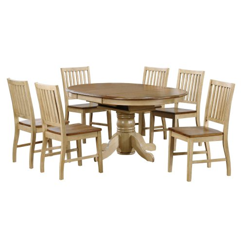 Brook Dining 7-piece dining set - Extendable pedestal dining table with six slat-back chairs - Finished in creamy wheat with a Pecan top and seats DLU-BR4260-C60-PW7PC