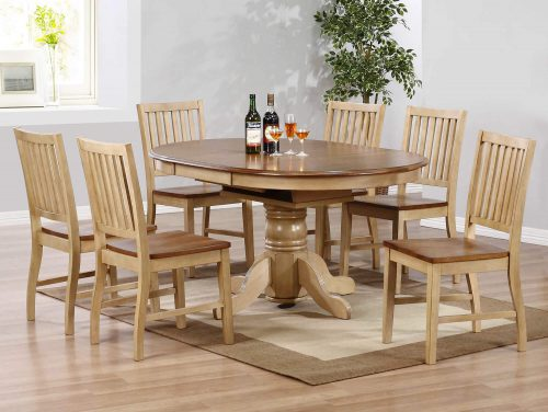 Brook Dining 7-piece dining set - Extendable pedestal dining table with six slat-back chairs - Finished in creamy wheat with a Pecan top and seats - dining room setting DLU-BR4260-C60-PW7PC