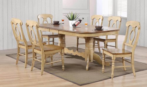 Brook Dining 7-piece dining set - Extendable pedestal table with six Napoleon chairs - finished in creamy wheat with a Pecan top and seats dining room setting DLU-BR4296-C50-PW7PC