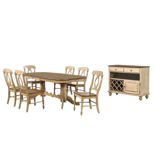 Brook Dining 8-piece dining set - Extendable pedestal table with six Napoleon chairs and server - finished in creamy wheat with Pecan tops - seats and accents DLU-BR4296-C50-SRPW8PC