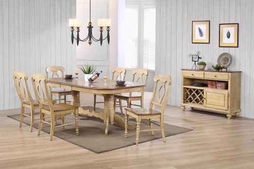 Brook Dining 8-piece dining set - Extendable pedestal table with six Napoleon chairs and server - finished in creamy wheat with Pecan tops - seats and accents dining room setting DLU-BR4296-C50-SRPW8PC