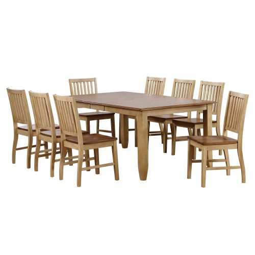 Brook Dining 9-piece dining set - Extendable dining table with eight slat-back chairs - finished in creamy wheat with a Pecan top and seats DLU-BR4272-C60-PW9PC