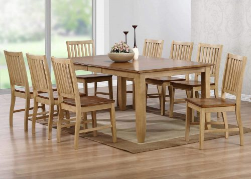 Brook Dining 9-piece dining set - Extendable dining table with eight slat-back chairs - finished in creamy wheat with a Pecan top and seats - dining room setting DLU-BR4272-C60-PW9PC