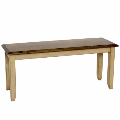 Brook Dining - Dining bench finished in a creamy wheat with Pecan seat - three-quarter view DLU-BR-BENCH-PW-RTA