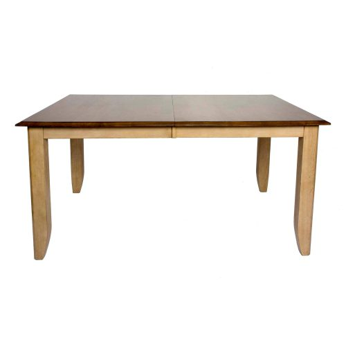 Brook Dining - Extendable dining table finished in creamy wheat with a Pecan top front view DLU-BR4272-PW