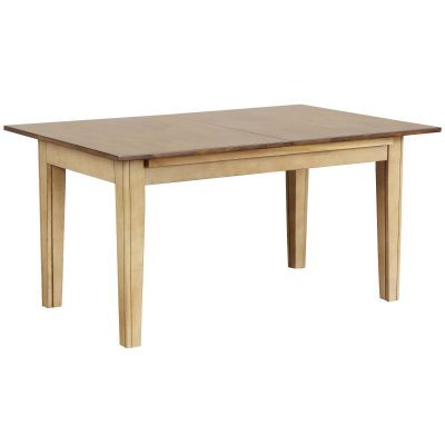 Brook Dining - Extendable dining table in creamy wheat finish with Pecan top closed position - DLU-BR134-PW
