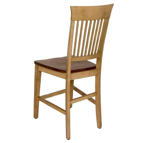 Brook Dining - Fancy slat barstool finished in creamy wheat with a pecan seat - back view DLU-BR-B70-PW-2