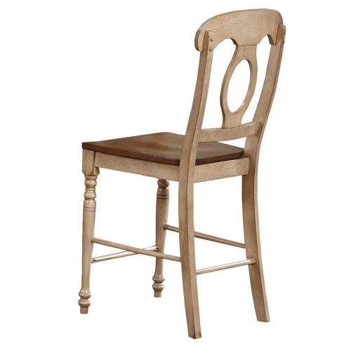 Brook Dining - Napoleon barstool finished in creamy wheat with a pecan seat - back view DLU-BR-B50-PW-2