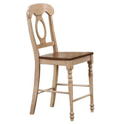 Brook Dining - Napoleon barstool finished in creamy wheat with a pecan seat - front view DLU-BR-B50-PW-2