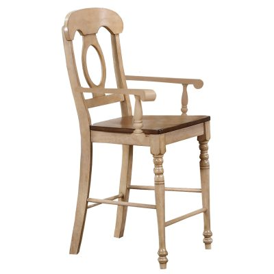 Brook Dining - Napoleon counter height barstool with arms finished in creamy wheat with a pecan seat DLU-BR-B50A-PW-2