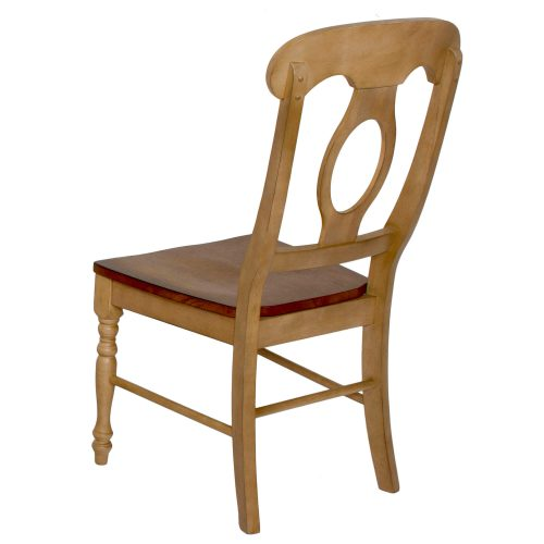 Brook Dining - Napoleon dining chair finished in creamy wheat with Pecan seat - back view DLU-BR-C50-PW-2
