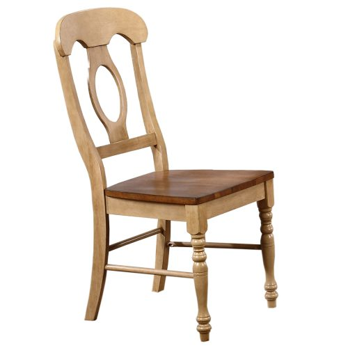 Brook Dining - Napoleon dining chair finished in creamy wheat with Pecan seat - side view DLU-BR-C50-PW-2