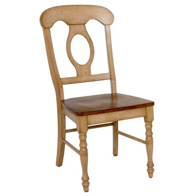 Brook Dining - Napoleon dining chair finished in creamy wheat with Pecan seat - three-quarter view DLU-BR-C50-PW-2