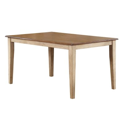 Brook Dining - Rectangular dining table finished in creamy wheat with a pecan top DLU-BR3660-PW