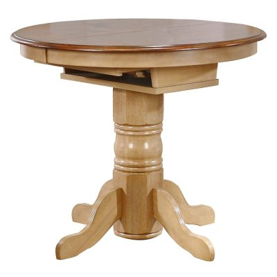 Brook Dining - Round Extendable pub height table finished in creamy wheat with a pecan top - closed position DLU-BR4260CB-PW