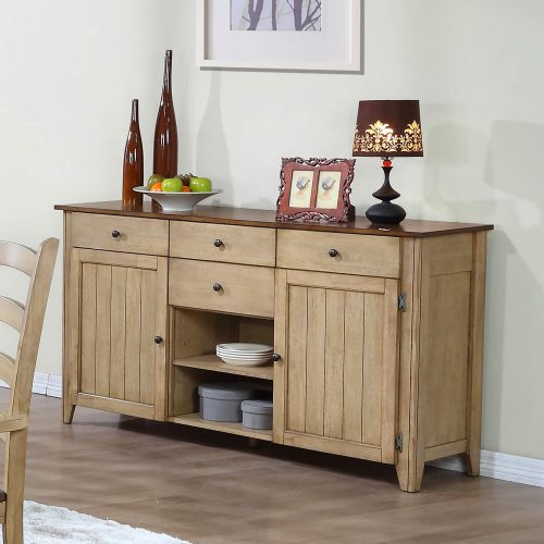 Brook Dining - Sideboard in creamy wheat finish and pecan top and accents - dining room setting DLU-BR-SB-PW