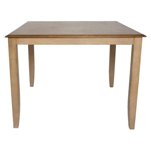 Brook Dining - Square Gathering Pub table - 48 inches - Finished in creamy wheat with a Pecan top - side view DLU-BR4848CB-PW