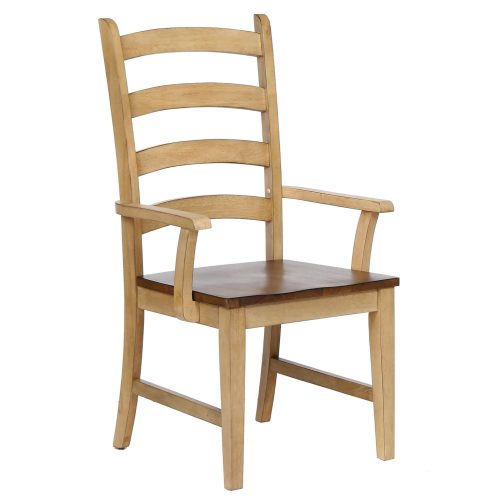 Brook dining - Ladder-back dining armchair finished in creamy wheat with a pecan seat - front view DLU-BR-C80A-PW-2