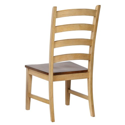 Brook dining - Ladder-back dining side chair finished in creamy wheat with a pecan seat - back view DLU-BR-C80-PW-2