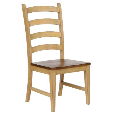 Brook dining - Ladder-back dining side chair finished in creamy wheat with a pecan seat - front view DLU-BR-C80-PW-2