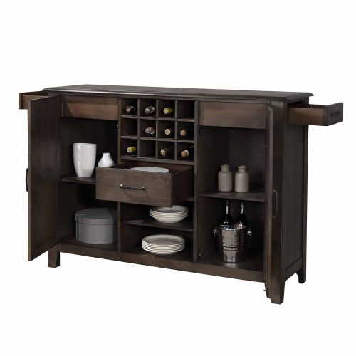 Cali Dining Collection - Server and wine storage - three-quarter with drawers and doors open view - DLU-CA113-SR