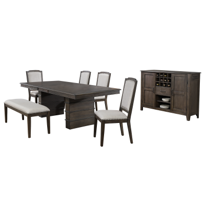 Cali Dining Collection - seven-piece dining set - three-quarter view DLU-CA113-4C-BNSR7PC
