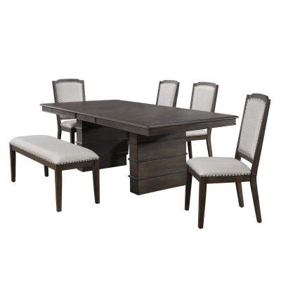 Cali Dining Collection - six-piece dining set - three-quarter view DLU-CA113-4C-BN6PC