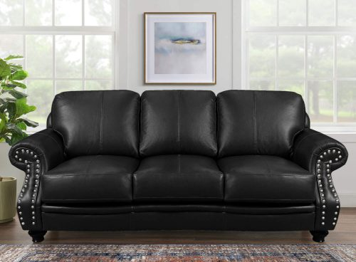 Charleston Sofa in Black. Front view in living room setting-SU-CR2130-80-300LF