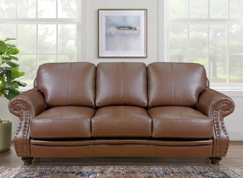 Charleston Sofa in Chestnut. Front view in living room setting-SU-CR2130-86-300LF
