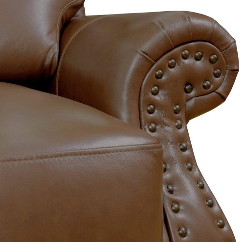 Charleston Collection in Chestnut. Detail of nailheads-SU-CR2130-86