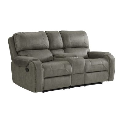 Calvin Motion Loveseat w Console in Grey. Angled view SU-CL23004100-285
