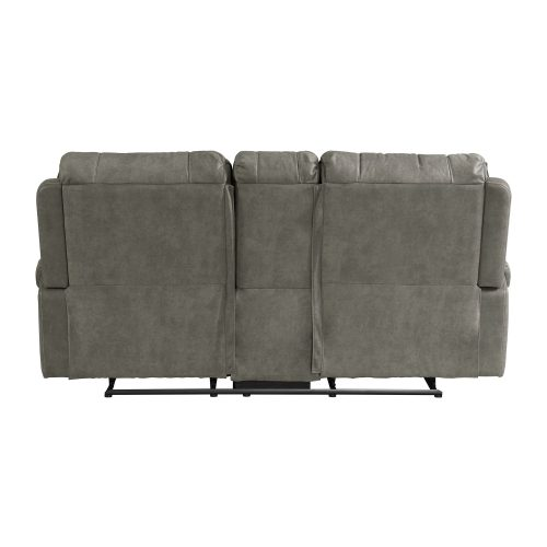 Calvin Motion Loveseat w Console in Grey. Back view SU-CL23004100-285