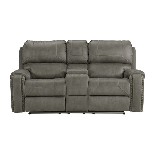 Calvin Motion Loveseat w Console in Grey. Front view SU-CL23004100-285