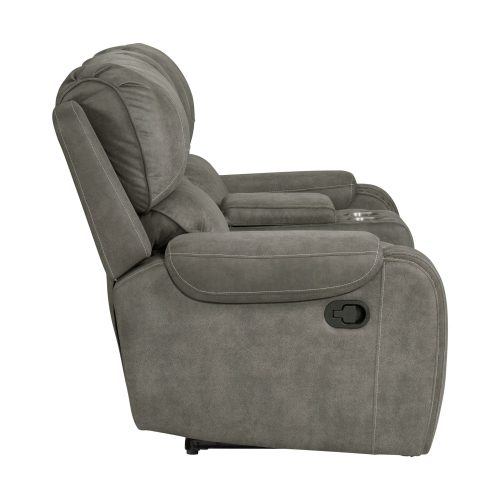 Calvin Motion Loveseat w Console in Grey. Side view SU-CL23004100-285