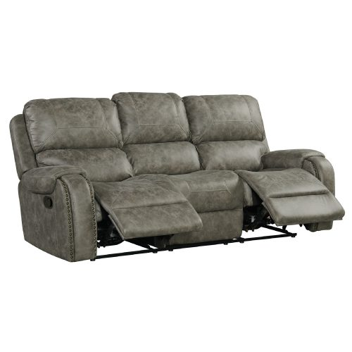 Calvin Motion Sofa in Grey. Angled view with foot rests up SU-CL23004100-305