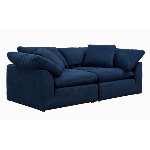 Cloud Puff 2-piece slipcovered modular sectional sofa in Navy SU-1458-49-2C