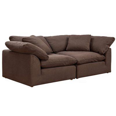 Cloud Puff 2-piece slipcovered modular sectional sofa in brown SU-1458-88-2C