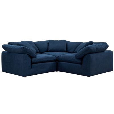 Cloud Puff 3-piece slipcovered modular L-shaped sectional sofa in Navy SU-1458-49-3C