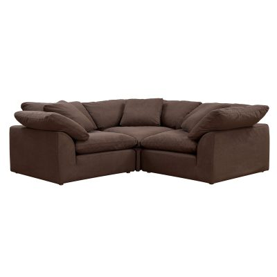 Cloud Puff 3-piece slipcovered modular L-shaped sectional sofa in brown SU-1458-88-3C