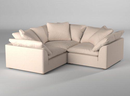 Cloud Puff 3-piece slipcovered modular L-shaped sectional sofa room setting SU-1458-84-3C