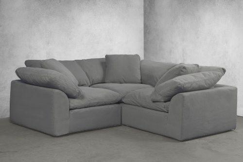 Cloud Puff 3-piece slipcovered modular L-shaped sectional sofa room setting SU-1458-94-3C